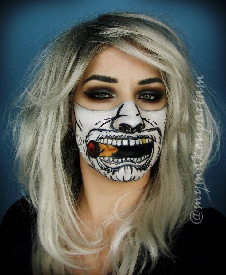 @mymakeupartam makeup bodypainting paint wasy moustache cygaro siwe wlosy grey grey hair