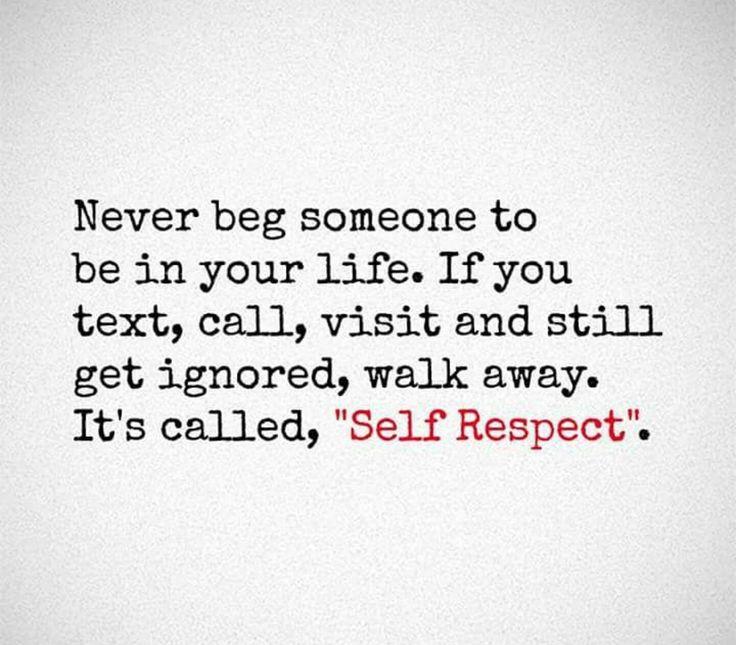 Self respect.....
