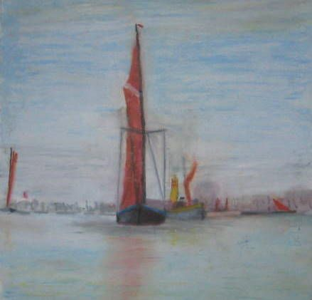 An oil pastel of a Thames Barge and a Tugboat