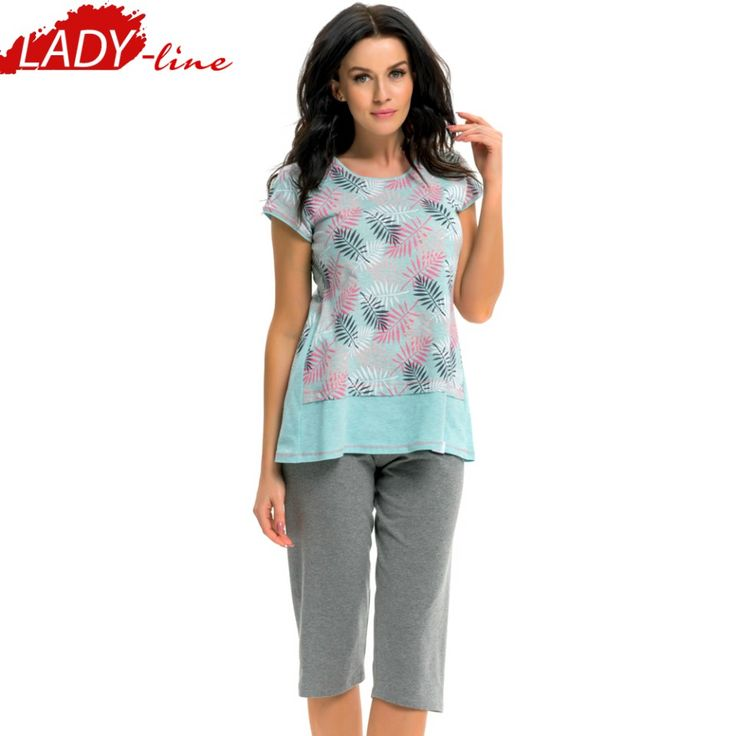 Poze Pijama Dama Maneca Scurta si Pantalon 3/4, Material Bluza: Bumbac 100% Prime Quality, Model 'Love Of Nature', Brand DN NightWear, Culoare Gri/Verde, Pijamale Polonia