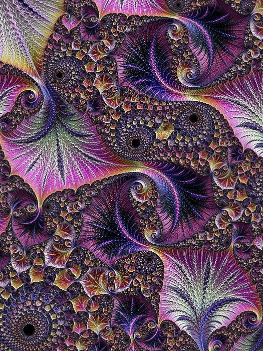 Embossed Leaves Print by Amanda Moore - (fractal art) via 'FineArtAmerica.com'★❤★