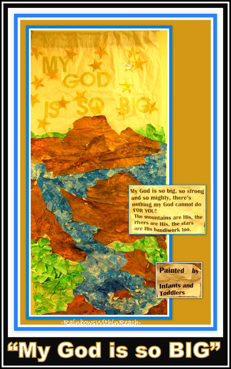 """Bulletin Board from Toddlers: """"My God is So BIG!"""" Open-ended paintings create material for banner-bulletin-board"""
