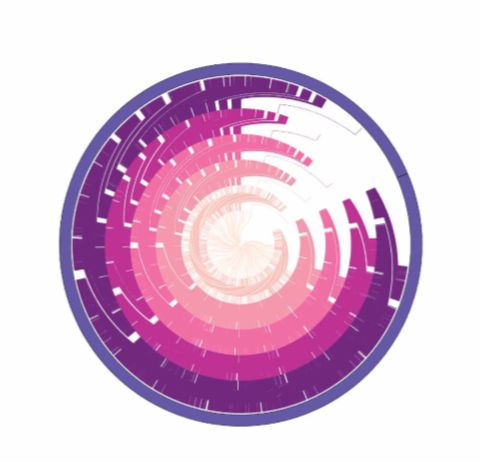 """Jesper Maag   """"The Art of Personal Genomics""""  Personal genomics is on the rise, providing insight into our disease risks. Here is my personal genomic profile visualised as a vortex of genomic variations."""