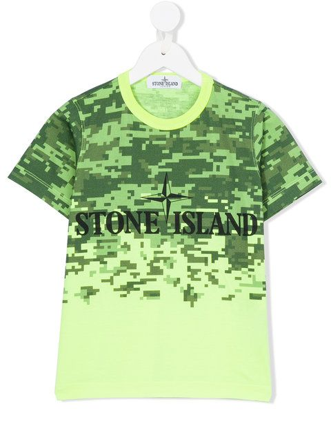 Stone Island Junior digital camo logo T-shirt