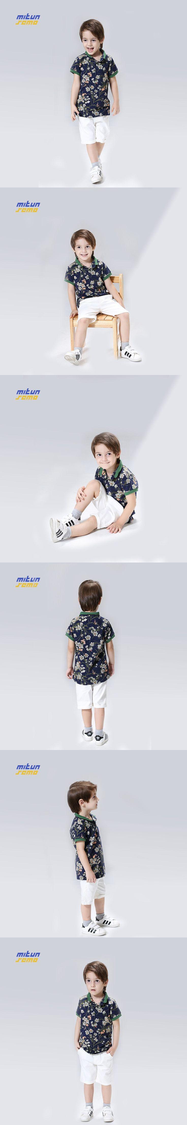 110-150cm Boys Short Floral T Shirt Vetement Garcon Boys Clothing Toddler Boys Clothing Abbigliamento Bambini Kids Boy Clothes