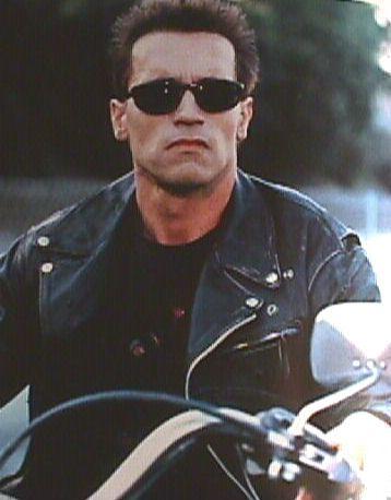 Arnold Schwarzenegger with sunglasses in Terminator movie.