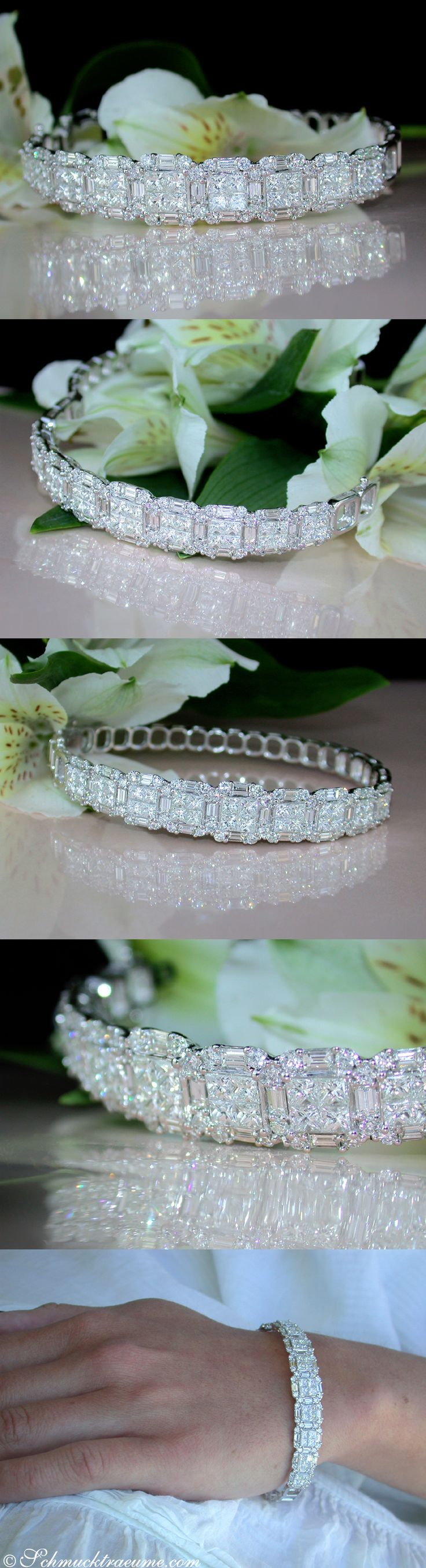 Luxury jewel: Fabulous Bangle with Brilliant, Princess & Baguette Cut Diamonds | 6.58 ct. G VVS/IF | Whitegold 18k - schmucktraeume.com Like: https://www.facebook.com/Noble-Juwelen-150871984924926/