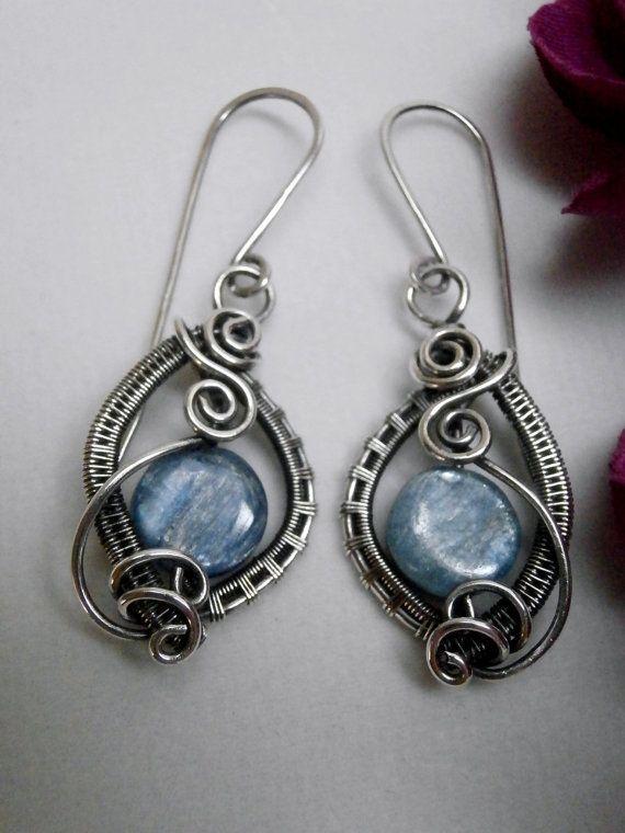 Wire Wrapped Earrings, Blue Kyanite in Oxidized Sterling Silver, Handmade Wire Weaved Jewelry, Antiqued Jewelry