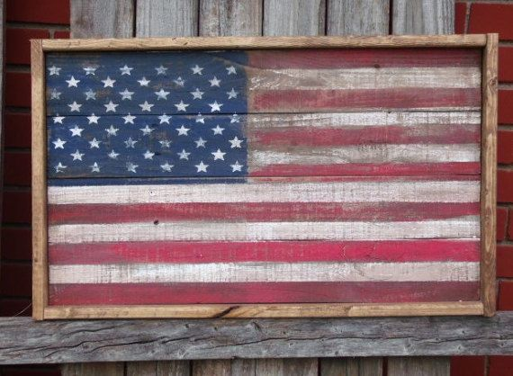 55x31 $140 Wood American Flag Rustic American Flag Framed American Flag Barn wood flag American Flag   This framed rustic American flag is a premium handcrafted item. Several hours of work, with great attention to detail, go into making each wood flag.  Proudly display your patriotism with this rustic American Flag! My wood American flags are all made from 100% old salvaged wood, hand painted and distressed to give them a worn, weathered appearance. The wood flag will make a wonderful…