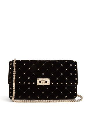 7f1e1339a5e Valentino Rockstud Spike quilted-velvet clutch