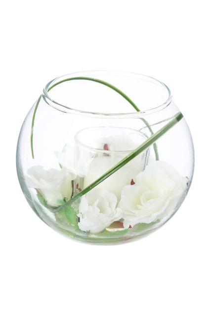 photophore et composition florale d 12 x 10 cm vase en. Black Bedroom Furniture Sets. Home Design Ideas