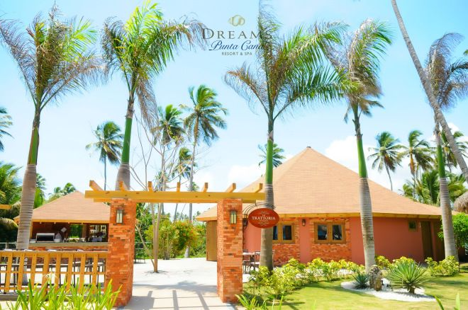 Diners at Dreams Punta Cana's La Trattoria can choose to sit inside or outside and enjoy a marvelous a la carte meal with a variety of pasta options and gourmet pizza.