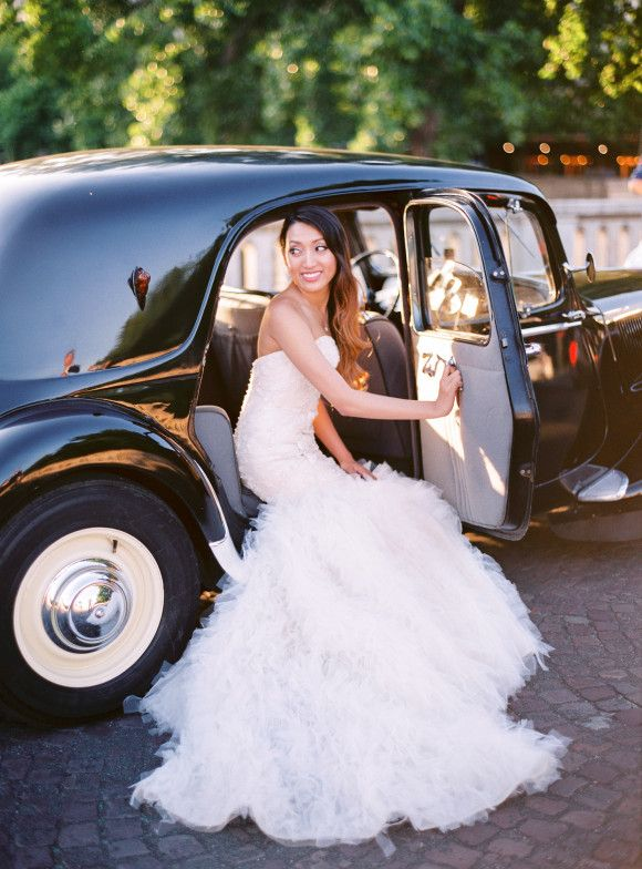 Classic and elegant wedding car | dress by Maggie Sottero