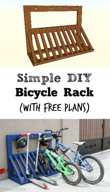 This is SUCH a smart idea! I love that there are even hooks for the helmets! Free building plans for Bicycle Rack {Addicted2DIY}