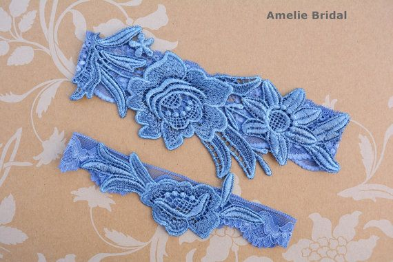 Something Blue Garter, Blue Lace Garter, Blue Wedding Gift, Garter Set Blue, Blue Garter Belt, Wedding Garter in Vintage, Garters For Wedding, Blue Bridal Garter, Prom Garters, Wedding Garter Set, Wedding Clothing, Lace Bridal Garter Wedding Garter Set of Keepsake Garter & Free Toss Garter Handmade with Beautiful Applique Blue Venise Lace Trim with Flowers. The lace trim is attached to an elastic lace on the same color. A beautiful, unique, elegant and different piece. Perfect for your we...