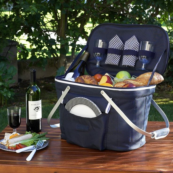 Picnic At Ascot Collapsible Insulated Picnic Basket Set for 2 Navy - 408-B