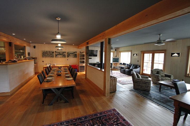 Inside Rugged Point Lodge, main sitting area, bar area, surrounded by ocean view decks.  #lodging #fishing #kyuquot