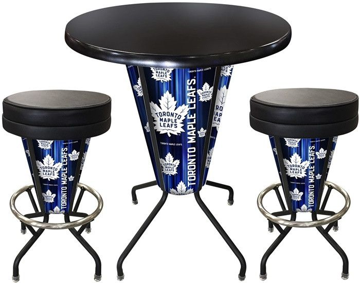 Toronto Maple Leafs D1 Black Lighted Pub Table Set. Two additional Stools are optional. Visit SportsFansPlus.com for details.