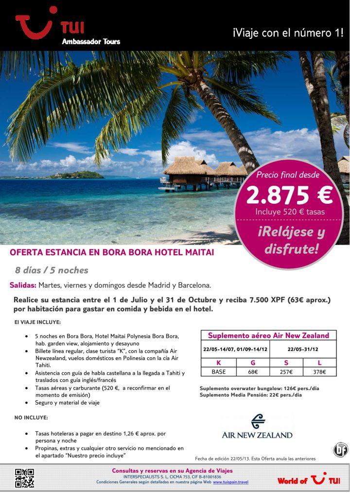 ¡Relájese y disfrute! Oferta Estancia en Bora Bora Hotel Maitai. Precio final desde 2.875€ - http://zocotours.com/relajese-y-disfrute-oferta-estancia-en-bora-bora-hotel-maitai-precio-final-desde-2-875e-2/