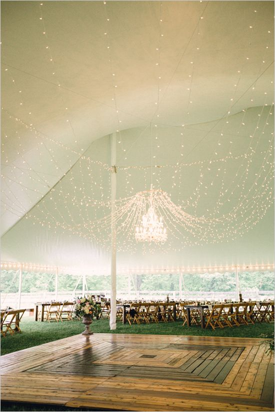 Wedding lighting ideas for a tent wedding reception.