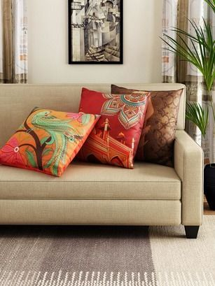 Perk up a plain living space with a set of three vibrant and colourful cushion covers!  #livingroom #homedecor #interiordesign #accessories #interiordesign #interior #interiorstyle #interiorlovers #interior4all #interiorforyou #interior123 #interiordecorating #interiorstyling #interiorarchitecture #interiores #interiordesignideas #interiorandhome #interiorforinspo #decor #homestyle #homedesign