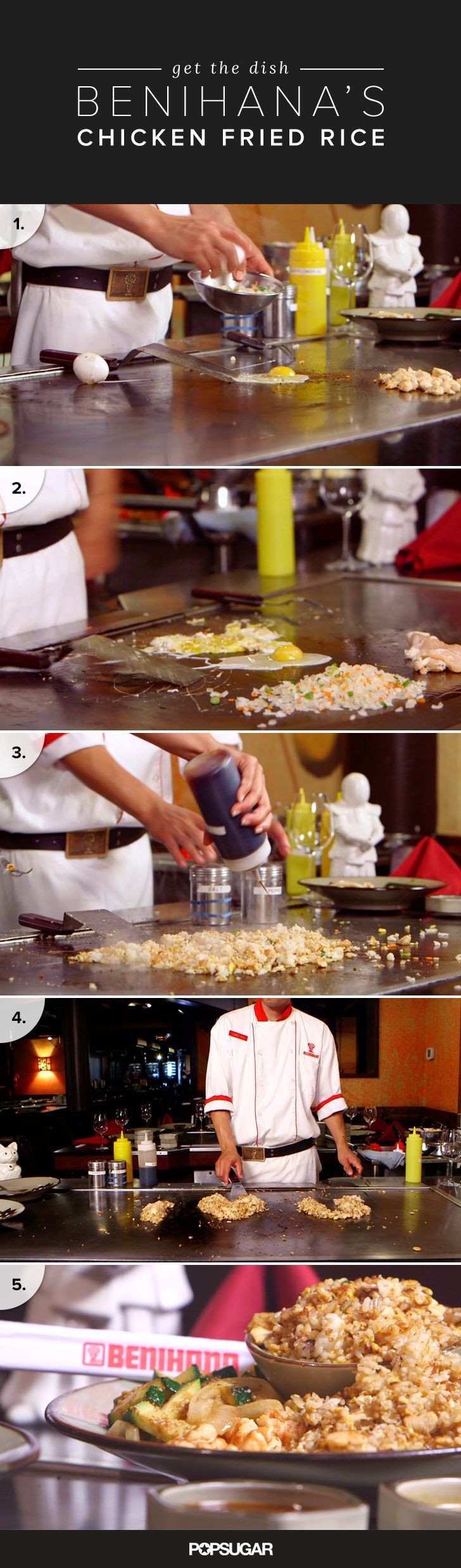 You may not have one of Benihana's teppanyaki tables — the flat grill top on which their signature dishes are cooked — at home, but that doesn't mean you can't get in on the fun! In this episode of Get the Dish, Benihana chef Oscar Briseno shows us how to master the restaurant's chicken fried rice and demonstrates how a few of the iconic tricks and flourishes are performed.