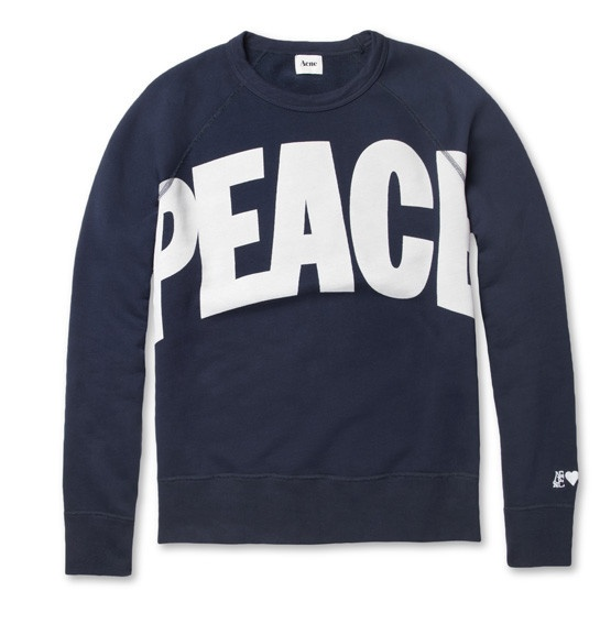 Acne College 'Peace' Slogan Sweatshirt