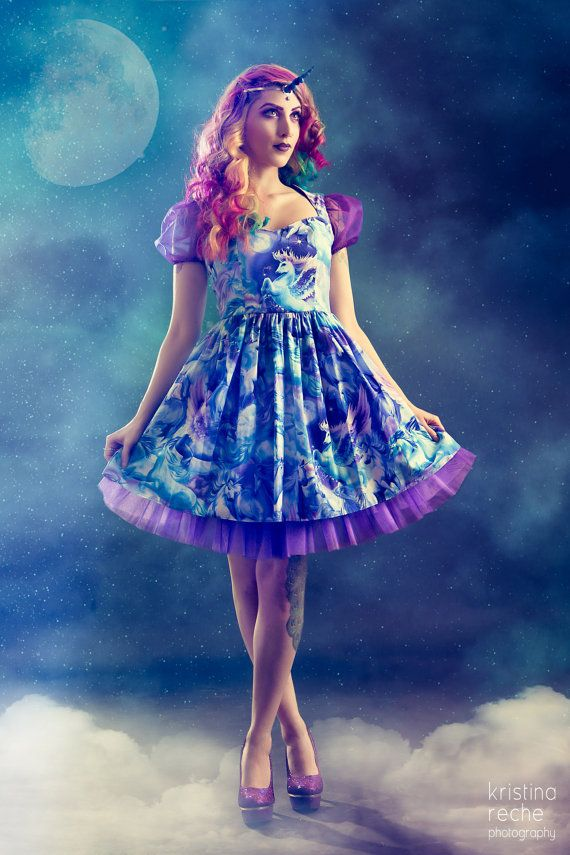 Unicorns Pegasus Dress Fantasy Print Galaxy Purple Blue Pastel Goth Magic Fantasy