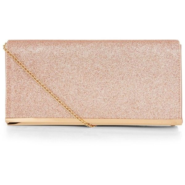 New Look Rose Gold Glitter Clutch (£16) ❤ liked on Polyvore featuring bags, handbags, clutches, gunmetal, rose gold clutches, snap closure purse, rose gold purse, glitter purse and rose gold handbag