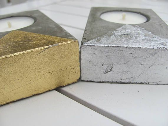 Gold or Silver Deco Design Candles and Holders Concrete Tea