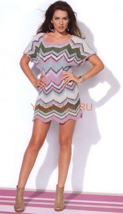 Платье в стиле Миссони. Размеры: а) 38-40; б) 42-44; в) 46-48; г) 50-52