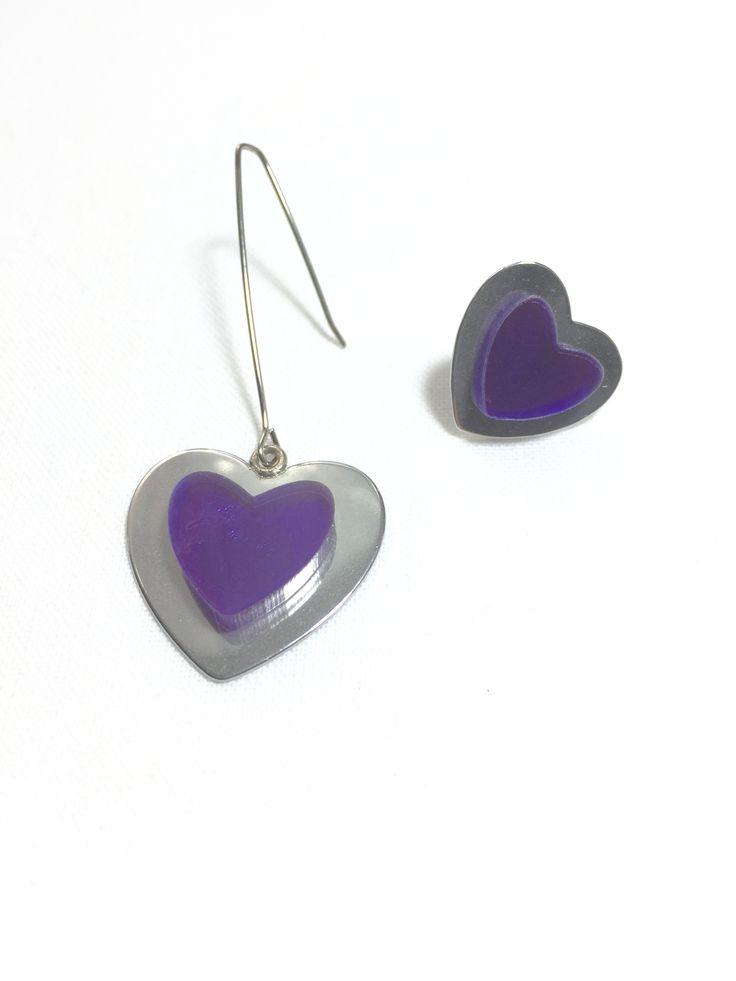 Purple Heart Asymmetrical Earrings