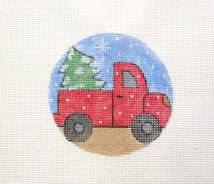 Vintage Red Truck Delivering the Tree Handpainted Needlepoint Canvas Ornament #Unbranded