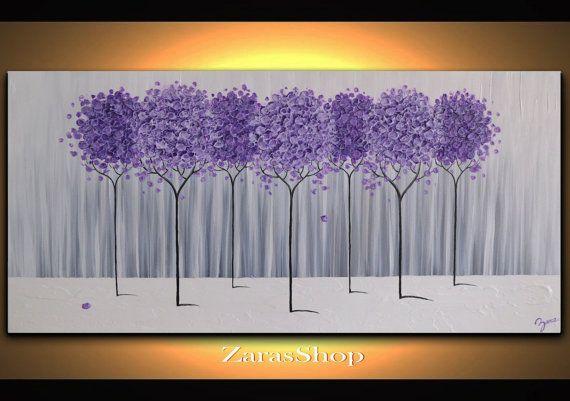 Large Modern Home Decor Purple Lavender Abstract Tree di ZarasShop