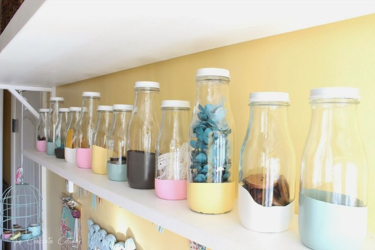 Paint Dipped Starbucks Frappuccino Bottles - use to organize craft supplies (or whatever!)