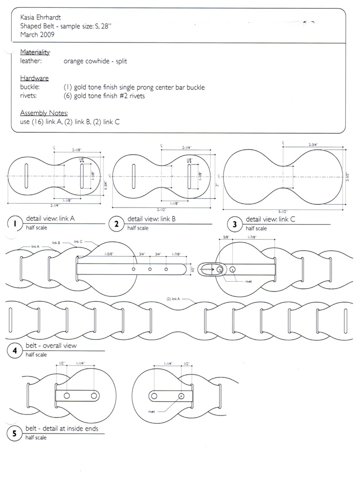 belt technical drawing