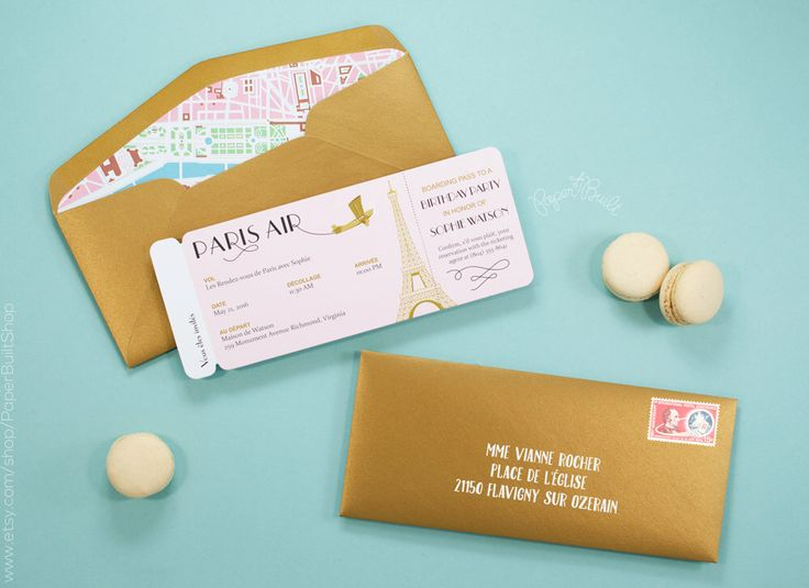 Paris Airline Ticket Invitation, Boarding Pass, French Birthday Party, Pink, Bridal Shower, Rendez vous de Paris, Baby Shower, Bat Mitzvah by PaperBuiltShop on Etsy https://www.etsy.com/listing/294843369/paris-airline-ticket-invitation-boarding