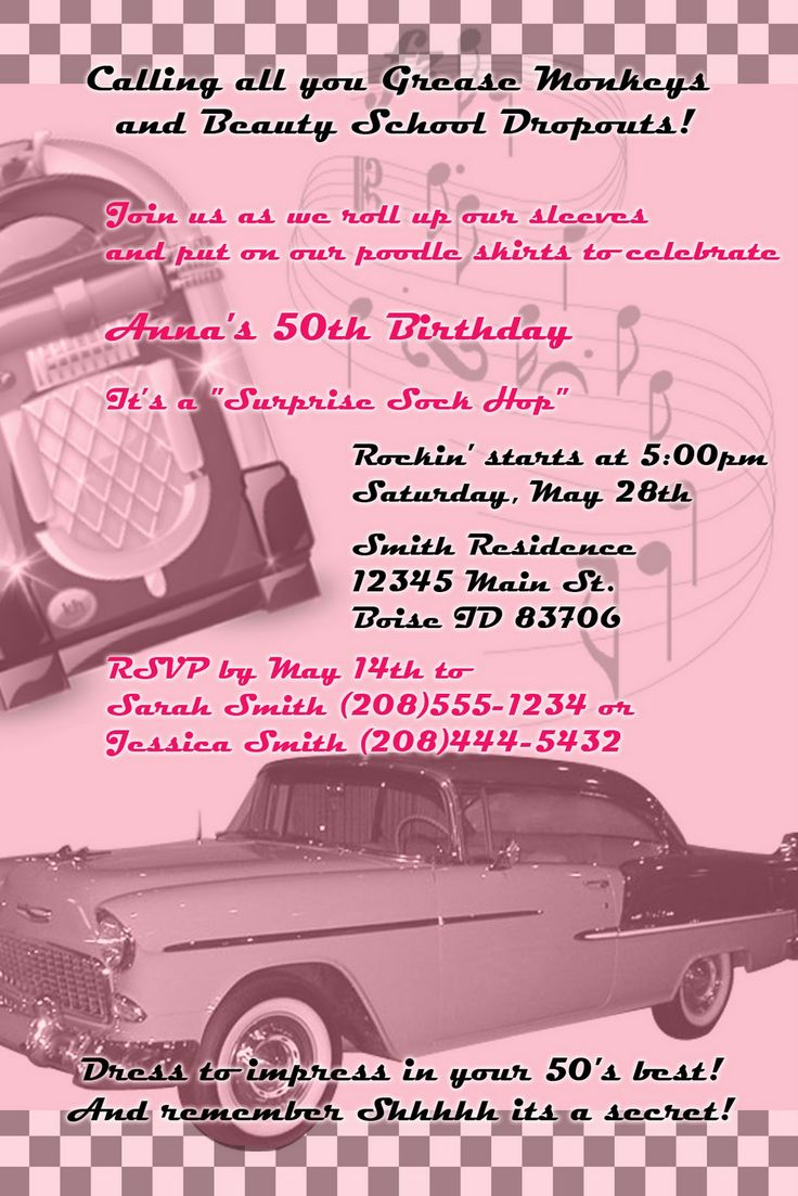 50's themes | Kayleigh's Kreations: 50's Theme Birthday Invitation