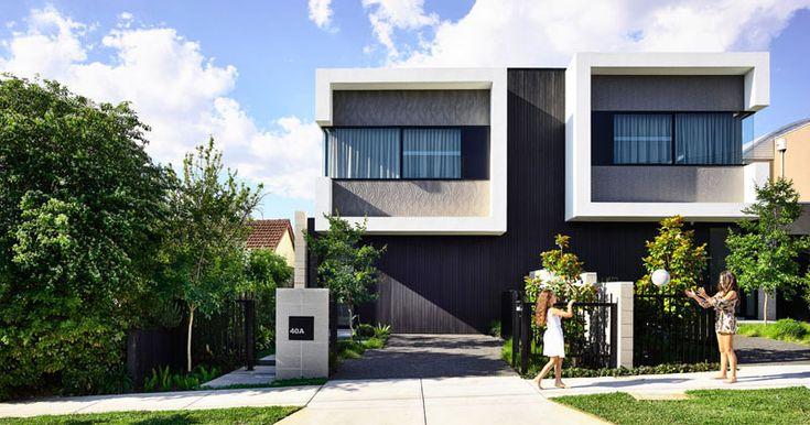 Jamison Architects haben ein zeitgenössisches Duplex mit verdeckten Garagen und einem offenen Innenraum entworfen