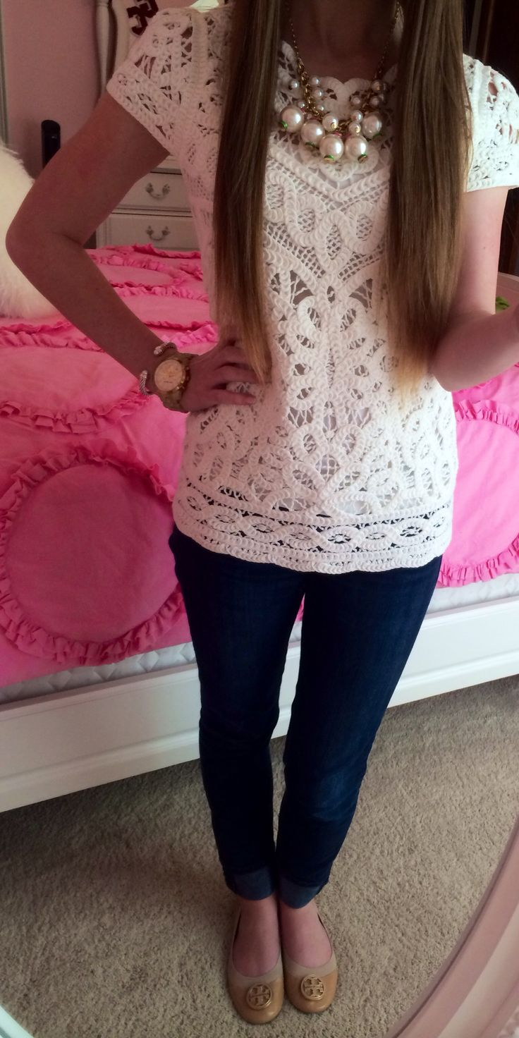 White lace top,slim pants, tan flats w/gold & white chunky jewelry. Cute & classy. love the Lilly Pulitzer necklace!