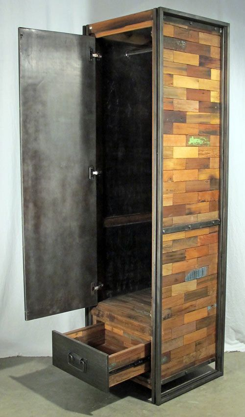 Tall wardrobe or armoire with 1 door and 1 drawer made from reclaimed salvaged outrigger canoe fishing boat wood and steel.