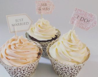 18 Personalised Wedding Cupcake Flags by LittleIndieStudio on Etsy
