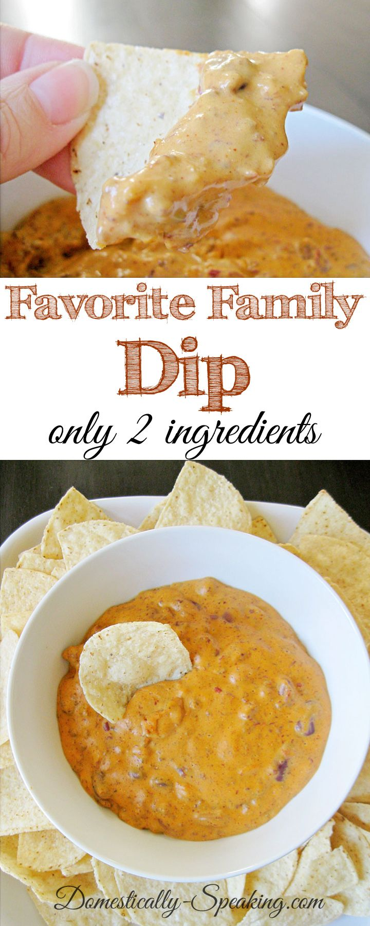 Favorite Family Dip only 2 ingredients - so yummy!  We have this for dinner on occasion too, but it's the perfect appetizer.