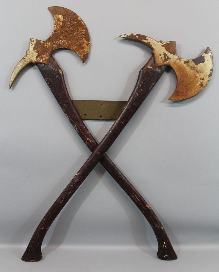Pair Antique Firemans Crossed Viking Fire Axe Fire