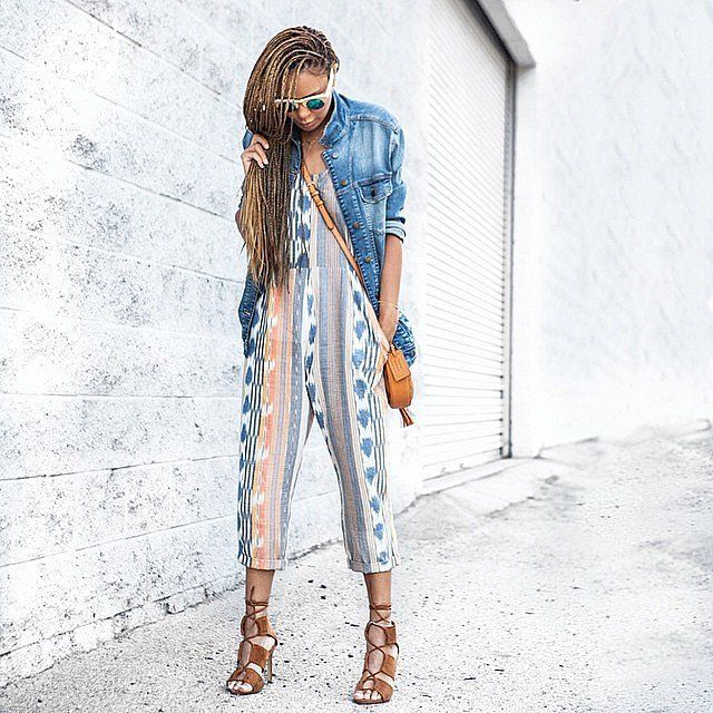 A printed jumpsuit, denim jacket, and strappy heels. Easy Labor Day Outfit Ideas | POPSUGAR Fashion