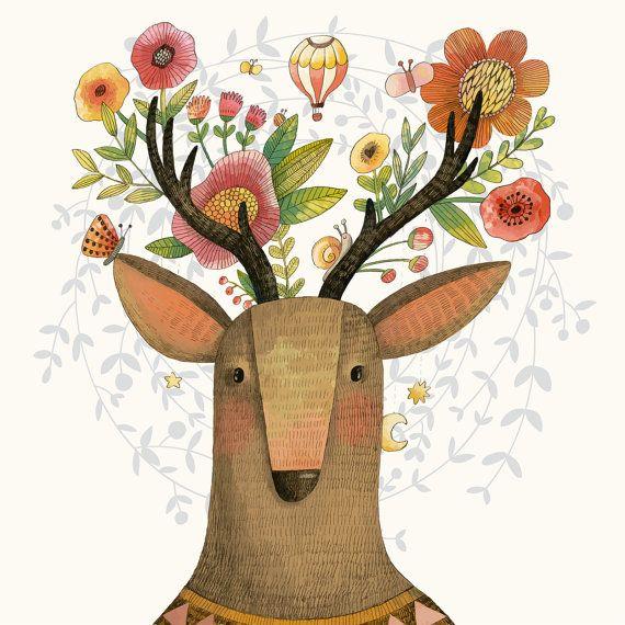 Baby deer kids nursery room decor impresión por Chachaprints