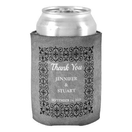 #Vintage chalkboard bride groom Thank you wedding Can Cooler - #chalkboard #gifts