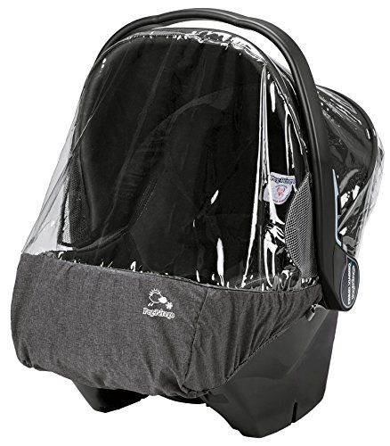 Peg Perego Primo Viaggio Rain Cover, Clear with Light Grey. Approved for use with the Peg Perego Primo Viaggio 4/35 infant car sat. Keeps baby protected in inclement weather. Weatherproof outside material that gives it a stylish and elegant look. Small netting on the side for air circulation. Fits seamlessly over the Primo Viaggio 4/35.