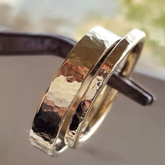 Set de 14 k anillo boda banda par hecho a mano por VenexiaJewelry