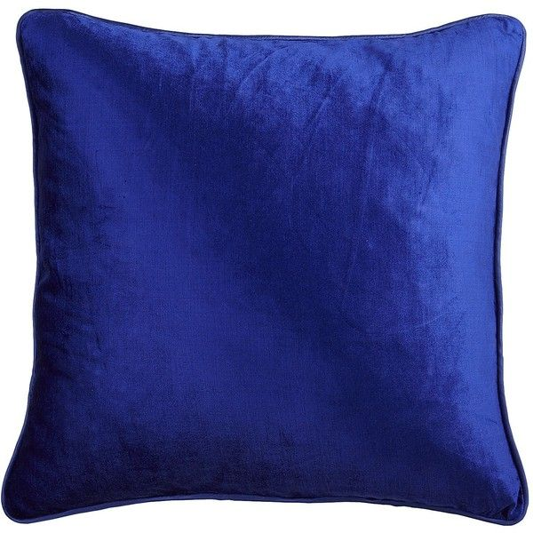 Pier 1 Imports Velvet Pillow - Cobalt Blue ($15) ❤ liked on Polyvore featuring home, home decor, throw pillows, pillows, cushions, blue, decor, blue home decor, cobalt blue home decor and blue toss pillows